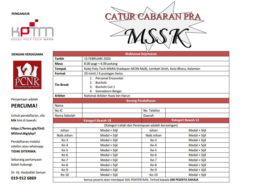 Kejohanan Catur Cabaran Pra MSSK