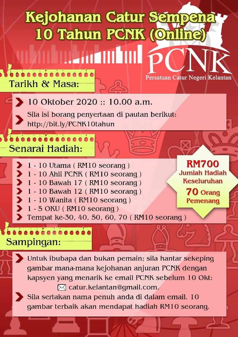Kejohanan Catur Sempena 10 Tahun PCNK (Online)